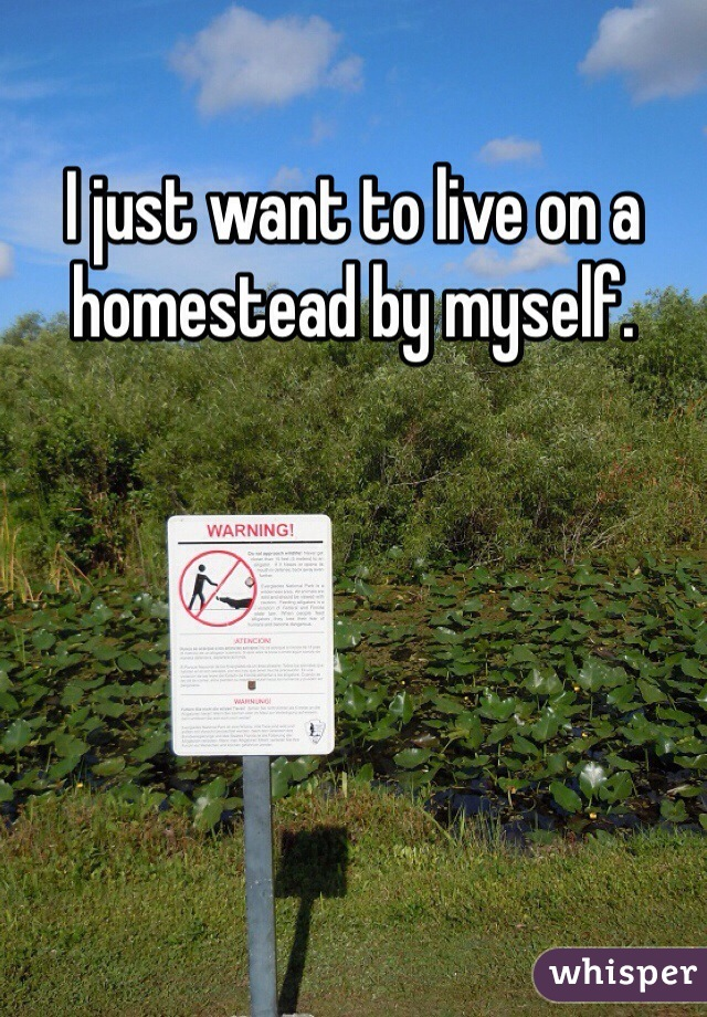 I just want to live on a homestead by myself.