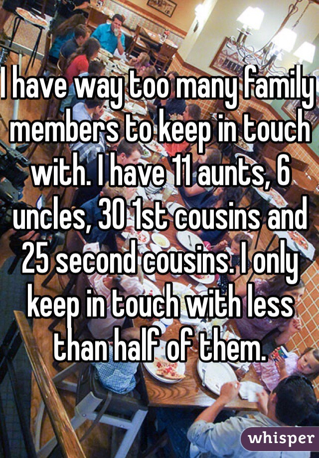 I have way too many family members to keep in touch with. I have 11 aunts, 6 uncles, 30 1st cousins and 25 second cousins. I only keep in touch with less than half of them.