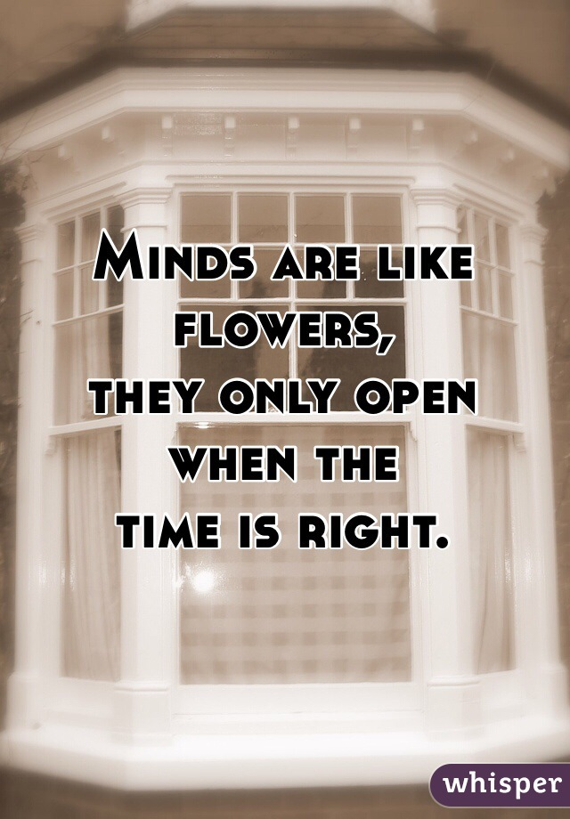 Minds are like flowers,  they only open  when the  time is right.