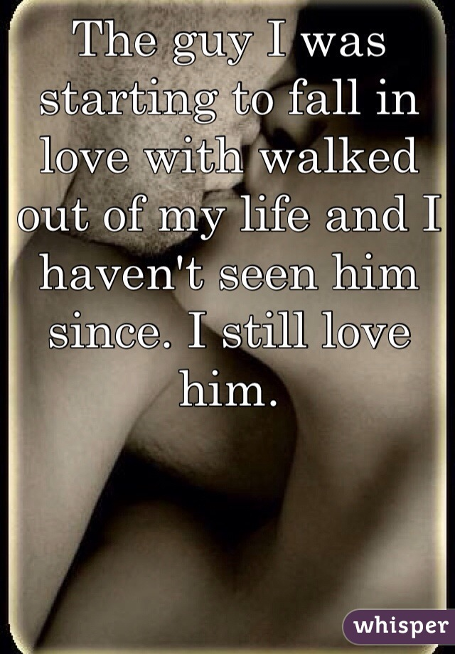 The guy I was starting to fall in love with walked out of my life and I haven't seen him since. I still love him.