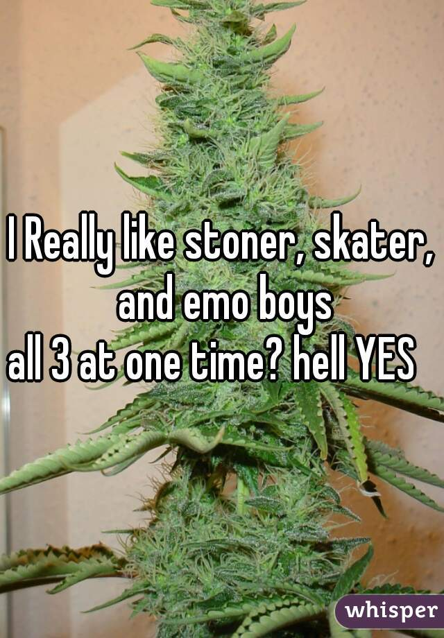 I Really like stoner, skater, and emo boys  all 3 at one time? hell YES
