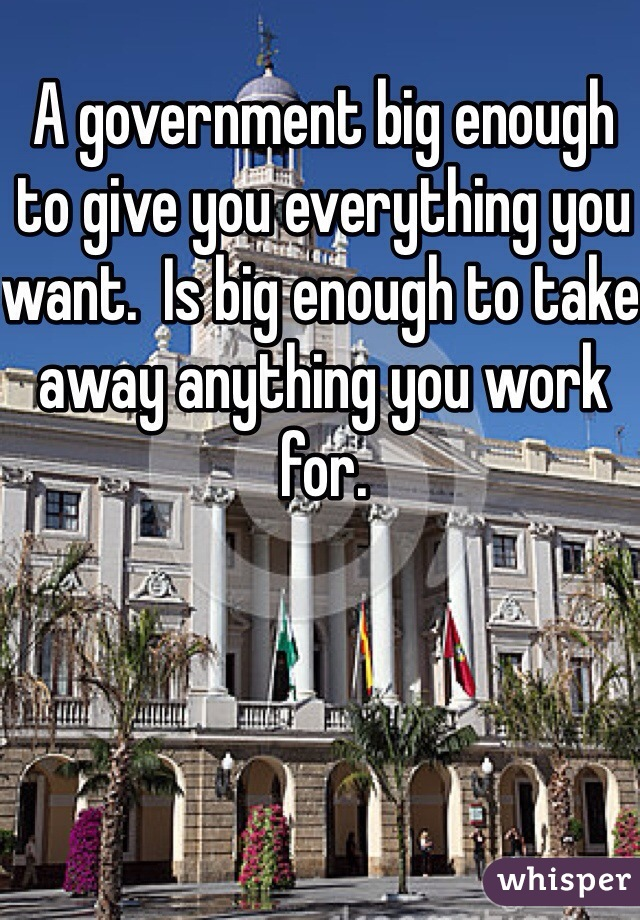 A government big enough to give you everything you want.  Is big enough to take away anything you work for.