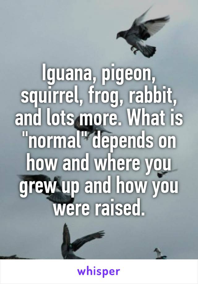 """Iguana, pigeon, squirrel, frog, rabbit, and lots more. What is """"normal"""" depends on how and where you grew up and how you were raised."""