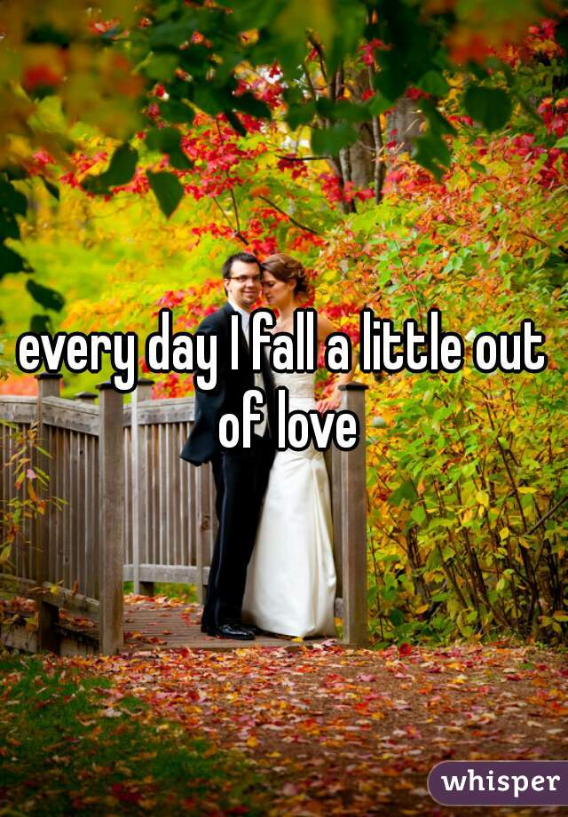 every day I fall a little out of love