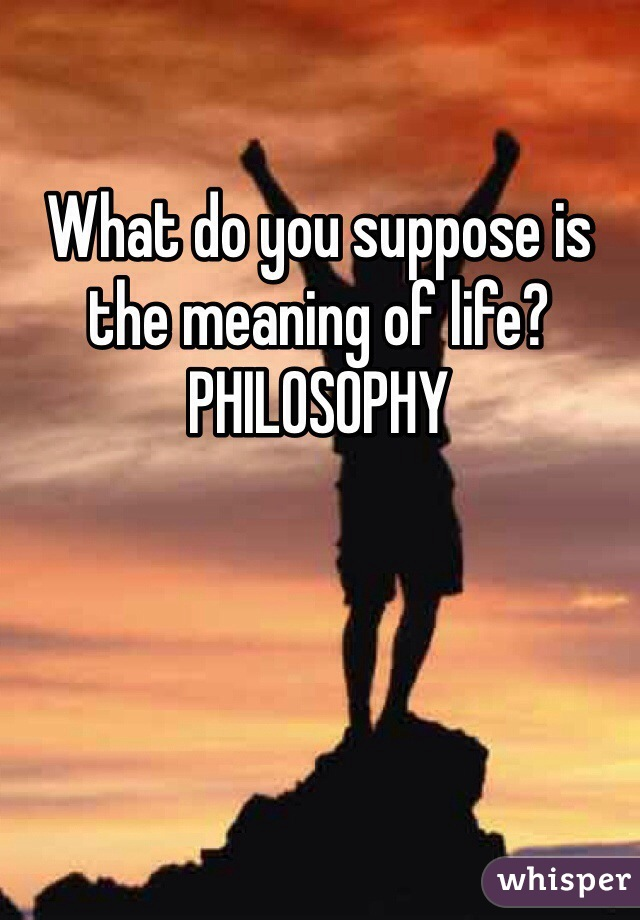 What do you suppose is the meaning of life? PHILOSOPHY