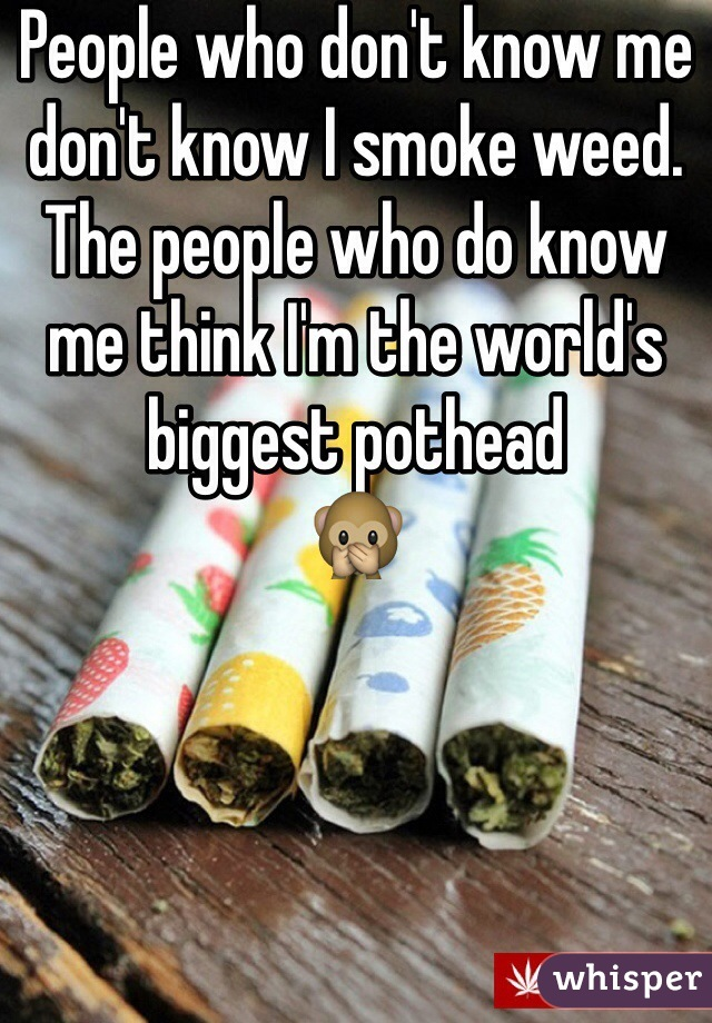 People who don't know me don't know I smoke weed. The people who do know me think I'm the world's biggest pothead              🙊