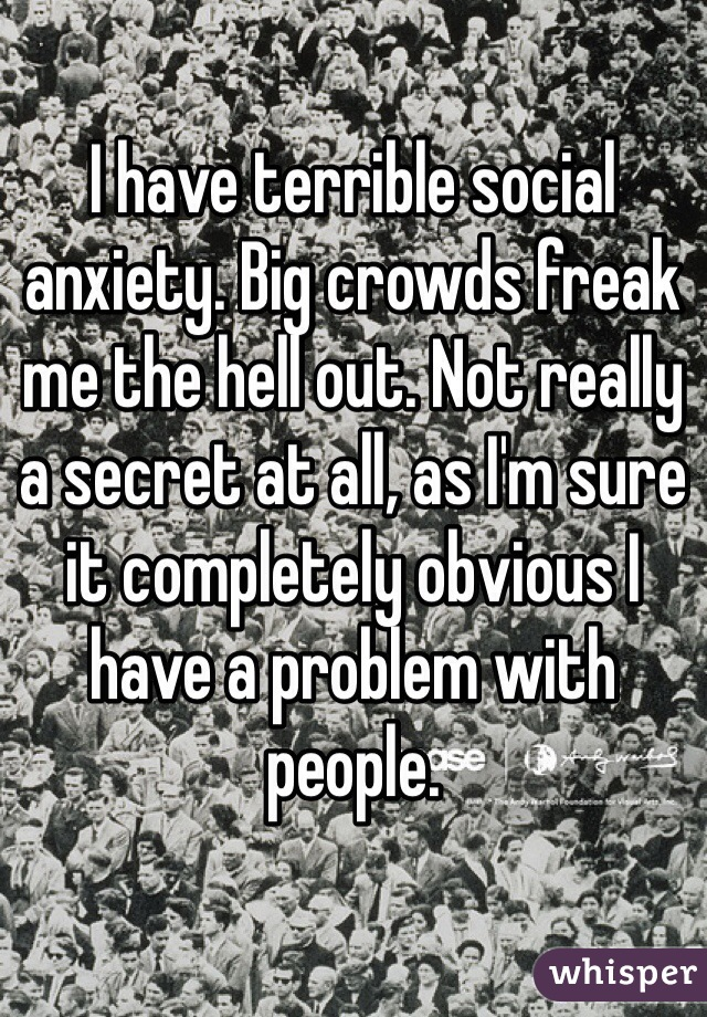 I have terrible social anxiety. Big crowds freak me the hell out. Not really a secret at all, as I'm sure it completely obvious I have a problem with people.