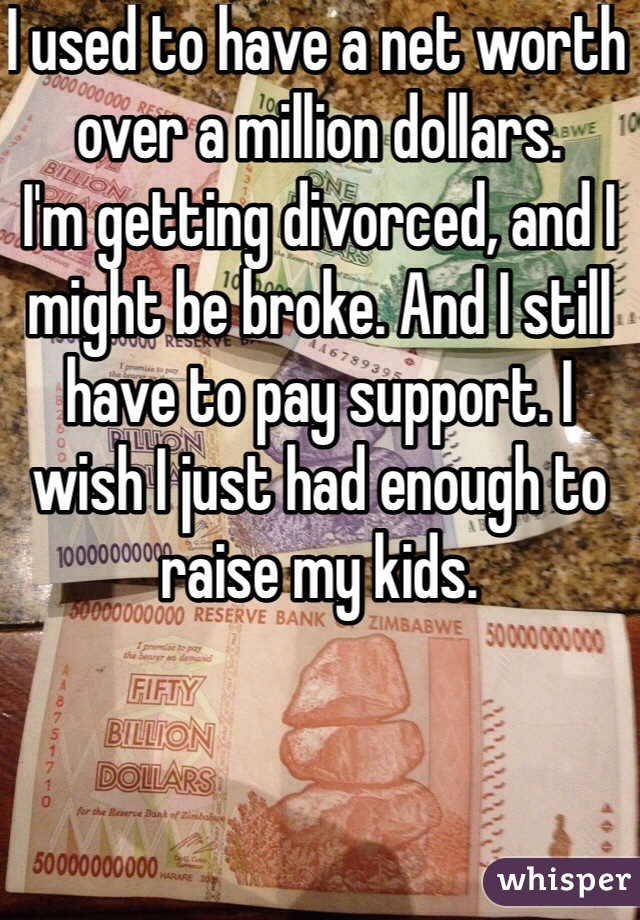 I used to have a net worth over a million dollars. I'm getting divorced, and I might be broke. And I still have to pay support. I wish I just had enough to raise my kids.