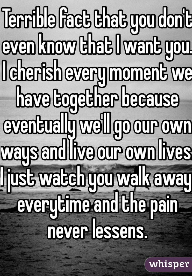 Terrible fact that you don't even know that I want you. I cherish every moment we have together because eventually we'll go our own ways and live our own lives. I just watch you walk away everytime and the pain never lessens.