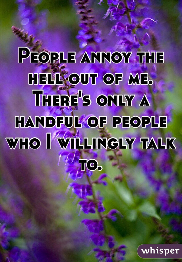 People annoy the hell out of me. There's only a handful of people who I willingly talk to.