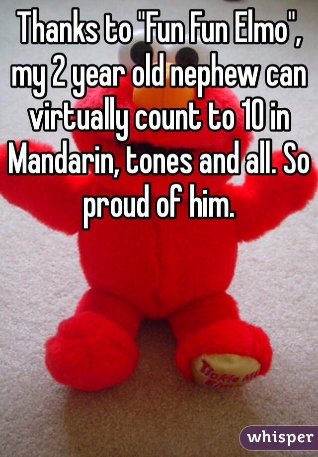 """Thanks to """"Fun Fun Elmo"""", my 2 year old nephew can virtually count to 10 in Mandarin, tones and all. So proud of him."""