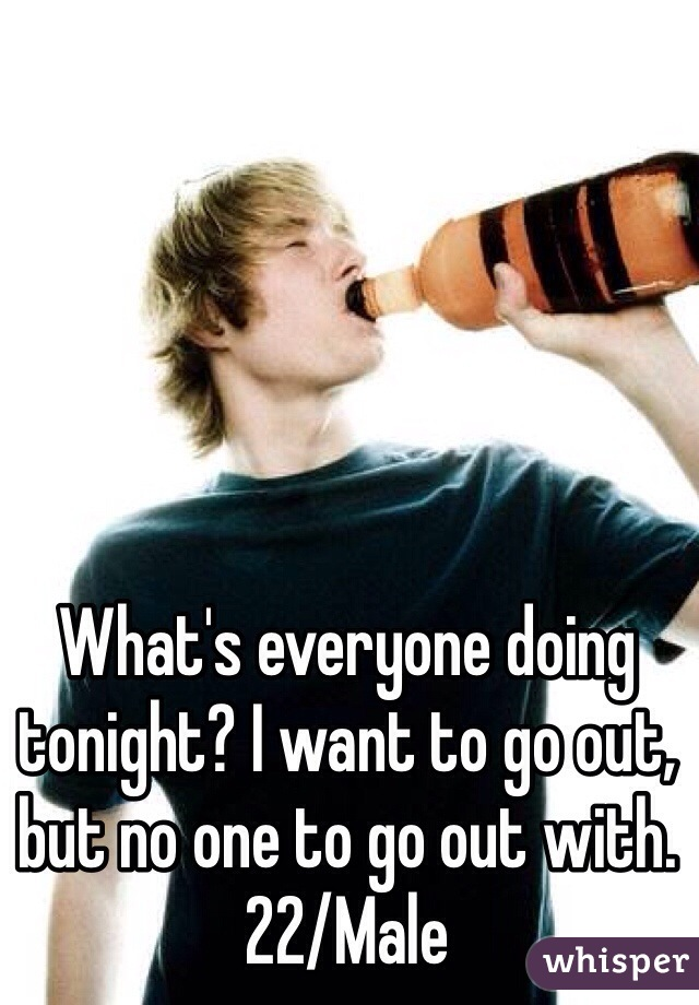 What's everyone doing tonight? I want to go out, but no one to go out with.  22/Male