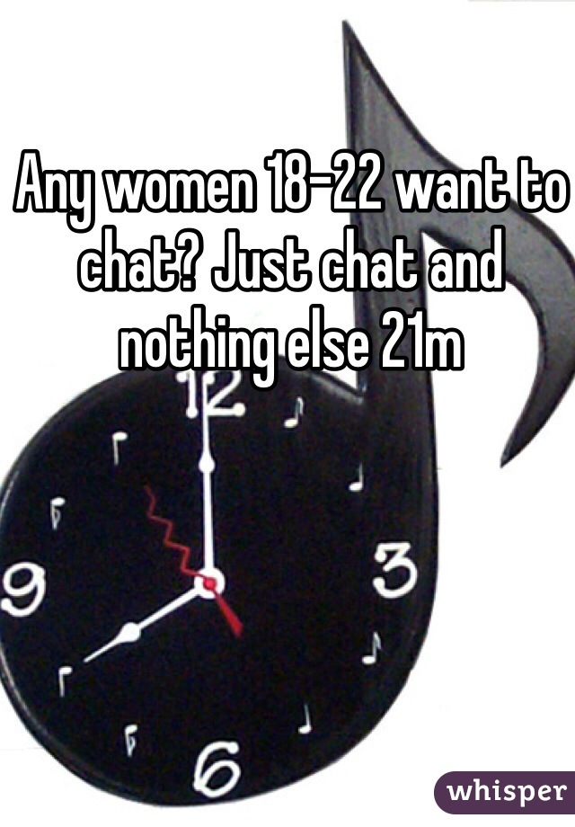 Any women 18-22 want to chat? Just chat and nothing else 21m
