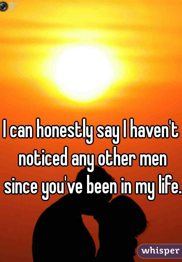 I can honestly say I haven't noticed any other men since you've been in my life.
