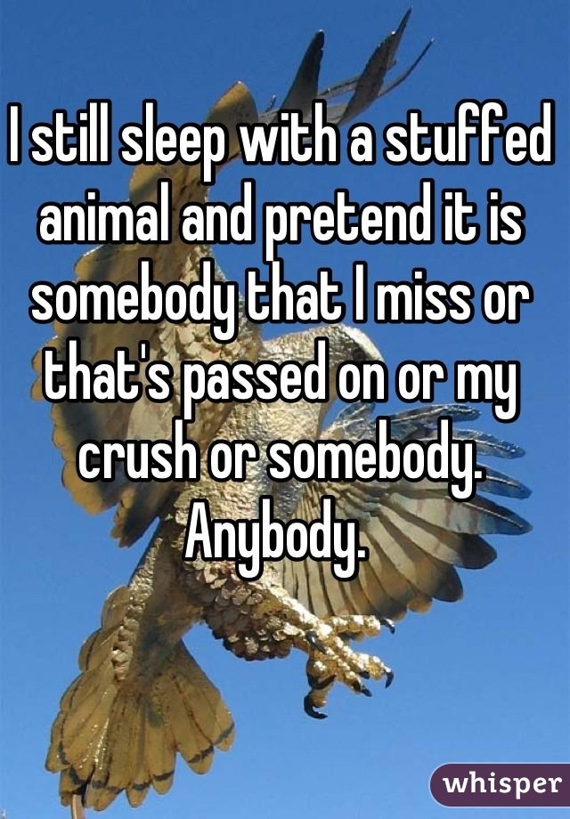 I still sleep with a stuffed animal and pretend it is somebody that I miss or that's passed on or my crush or somebody. Anybody.