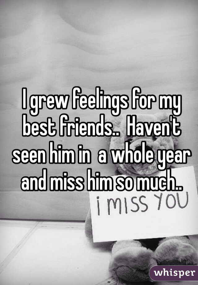 I grew feelings for my best friends..  Haven't seen him in  a whole year and miss him so much..
