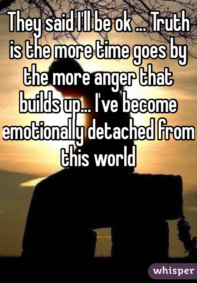 They said I'll be ok ... Truth is the more time goes by the more anger that builds up... I've become emotionally detached from this world