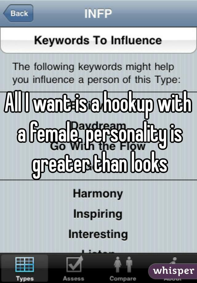 All I want is a hookup with a female. personality is greater than looks