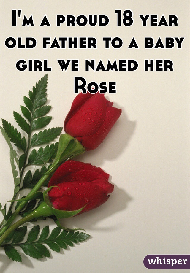 I'm a proud 18 year old father to a baby girl we named her Rose