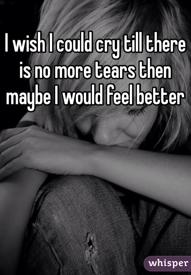 I wish I could cry till there is no more tears then maybe I would feel better