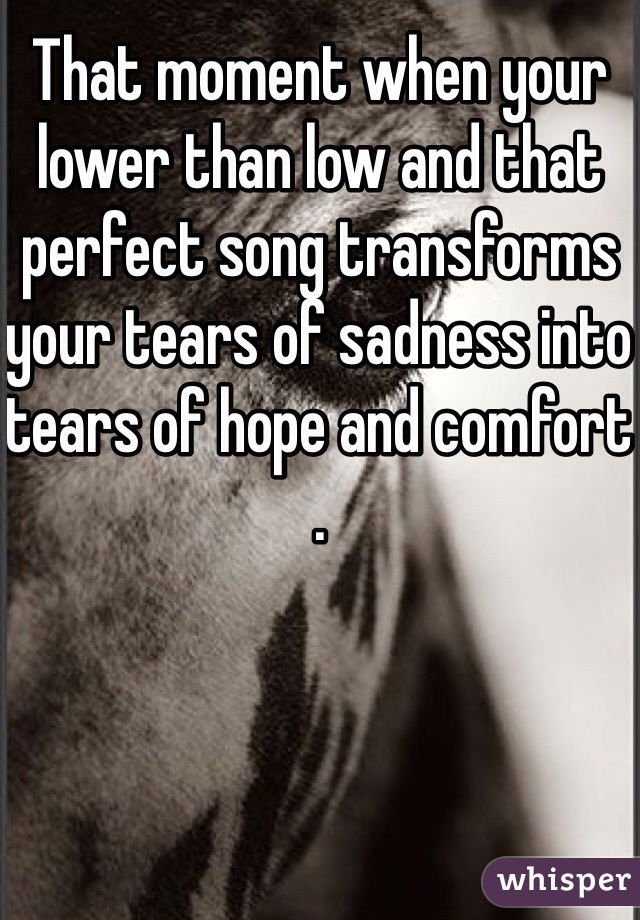 That moment when your lower than low and that perfect song transforms your tears of sadness into tears of hope and comfort .