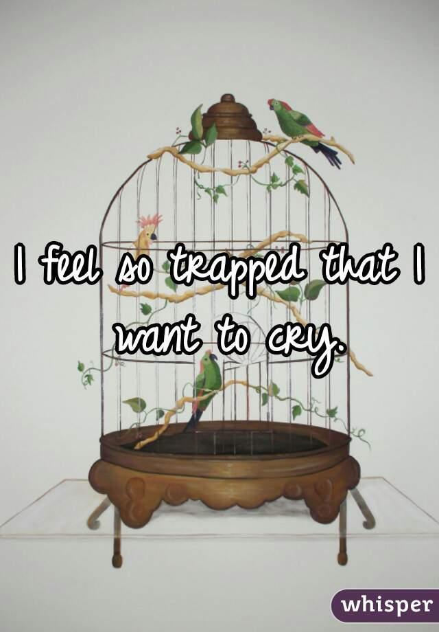 I feel so trapped that I want to cry.