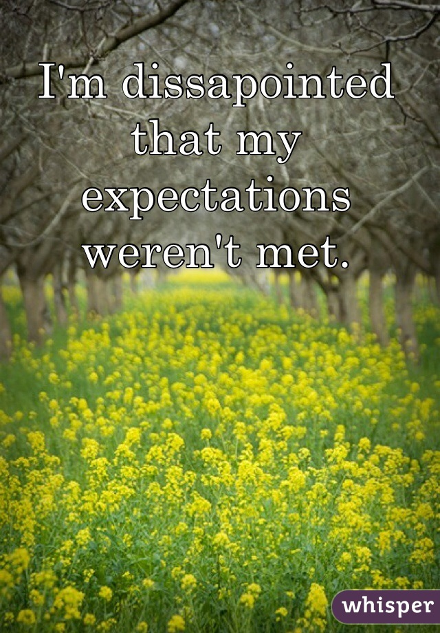 I'm dissapointed that my expectations weren't met.