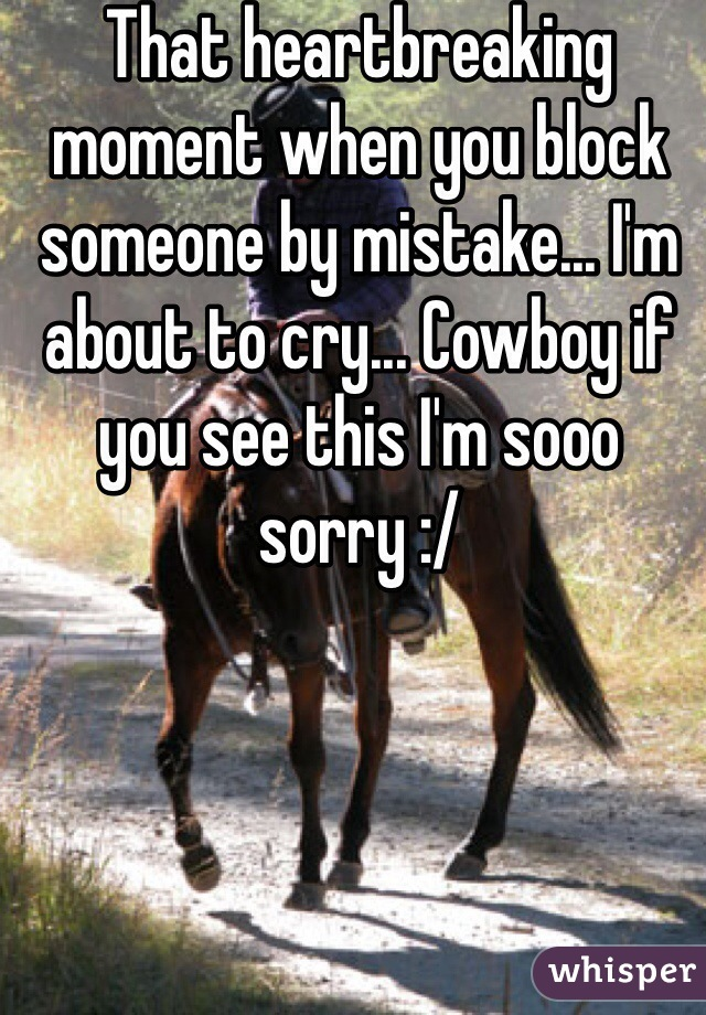 That heartbreaking moment when you block someone by mistake... I'm about to cry... Cowboy if you see this I'm sooo sorry :/