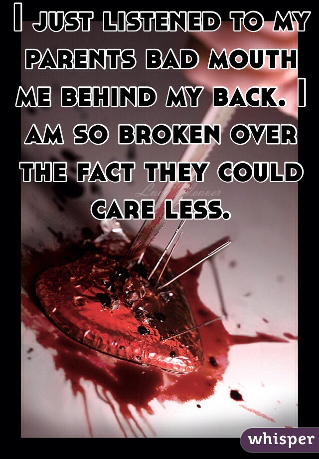 I just listened to my parents bad mouth me behind my back. I am so broken over the fact they could care less.