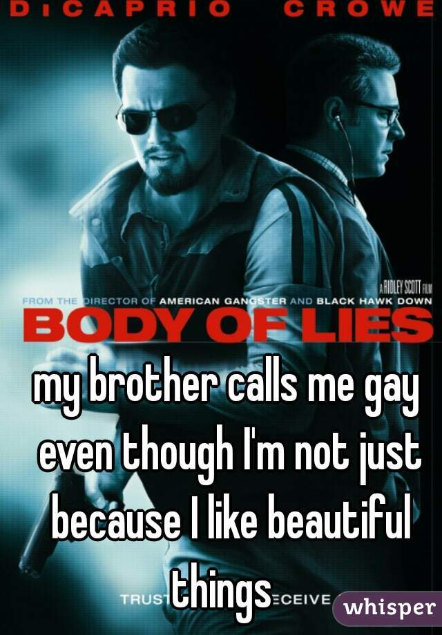 my brother calls me gay even though I'm not just because I like beautiful things
