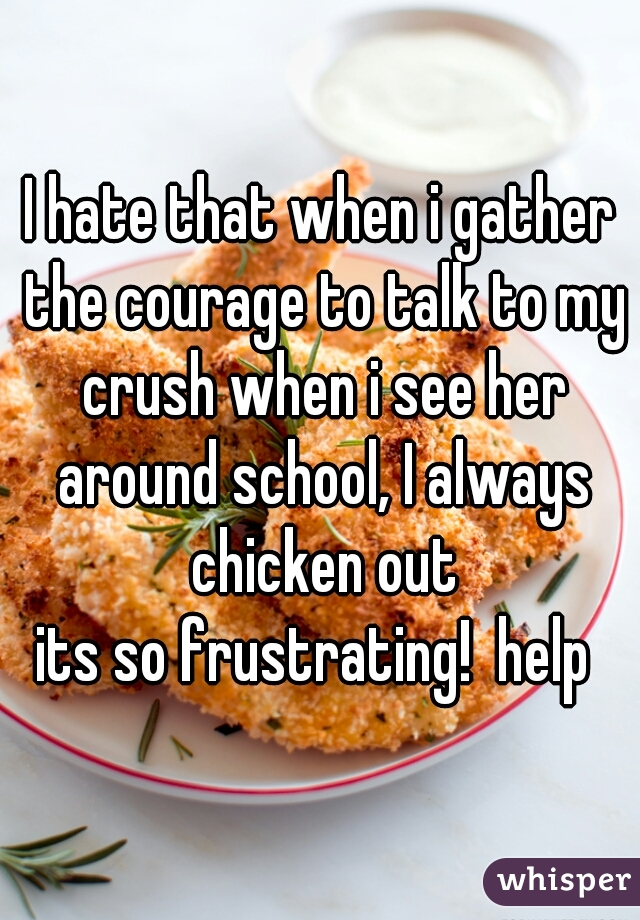I hate that when i gather the courage to talk to my crush when i see her around school, I always chicken out its so frustrating!  help
