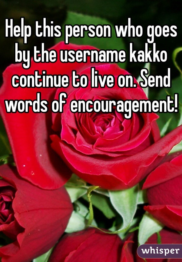 Help this person who goes by the username kakko continue to live on. Send words of encouragement!