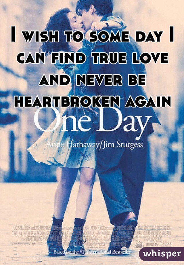 I wish to some day I can find true love and never be heartbroken again