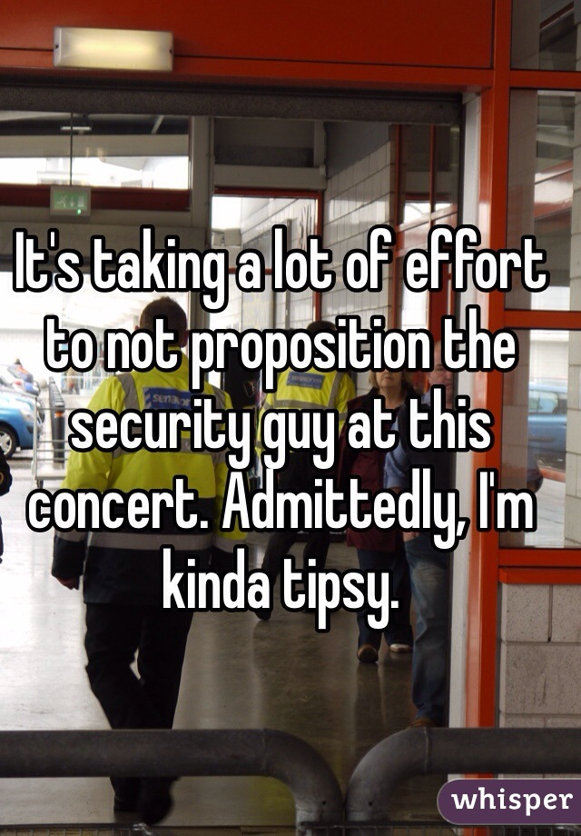 It's taking a lot of effort to not proposition the security guy at this concert. Admittedly, I'm kinda tipsy.