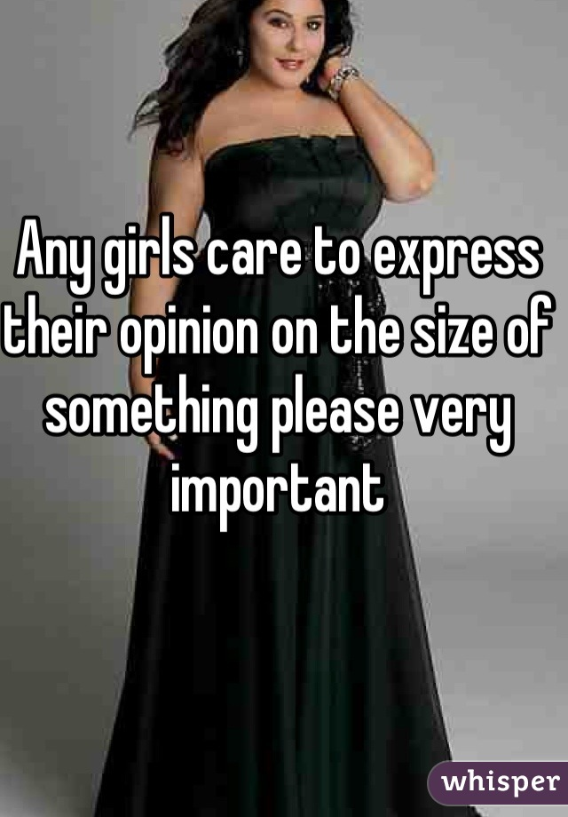 Any girls care to express their opinion on the size of something please very important