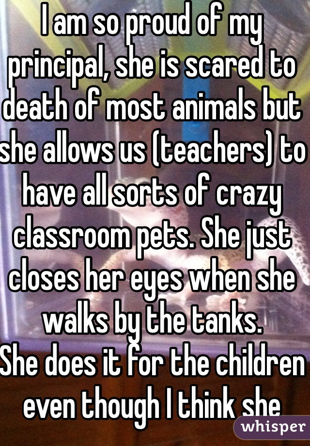I am so proud of my principal, she is scared to death of most animals but she allows us (teachers) to have all sorts of crazy classroom pets. She just closes her eyes when she walks by the tanks. She does it for the children even though I think she wants to cry!