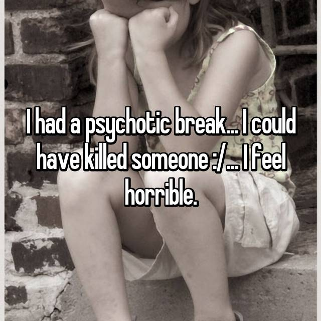 I had a psychotic break... I could have killed someone :/... I feel horrible.