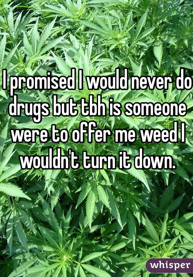 I promised I would never do drugs but tbh is someone were to offer me weed I wouldn't turn it down.