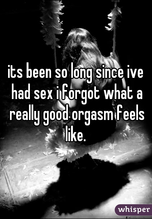 its been so long since ive had sex i forgot what a really good orgasm feels like.