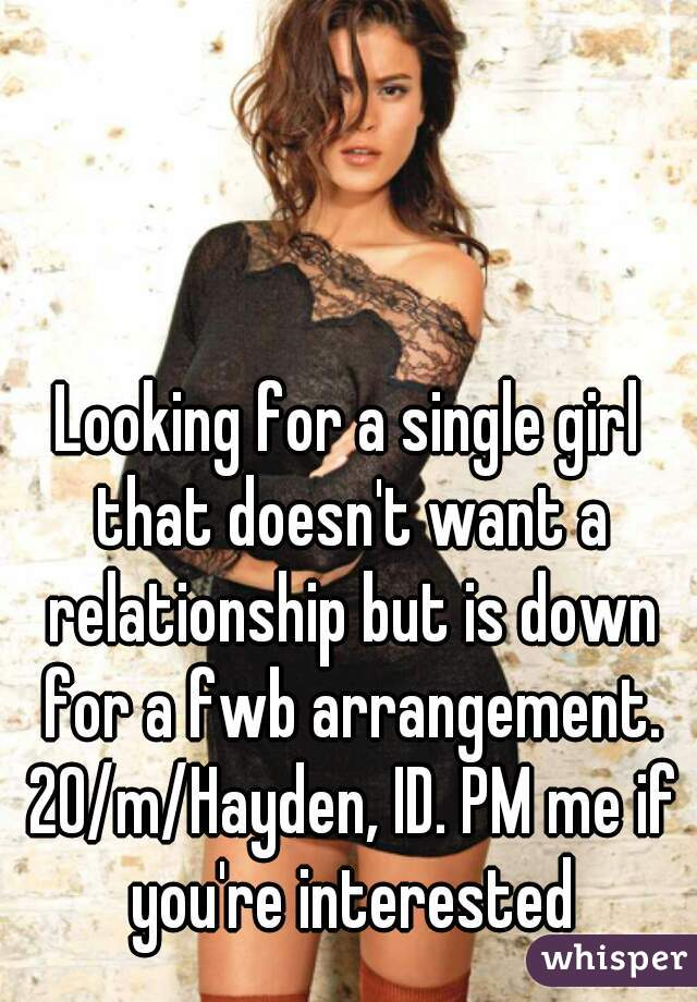 Looking for a single girl that doesn't want a relationship but is down for a fwb arrangement. 20/m/Hayden, ID. PM me if you're interested
