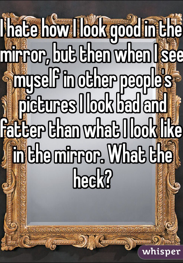 I hate how I look good in the mirror, but then when I see myself in other people's pictures I look bad and fatter than what I look like in the mirror. What the heck?