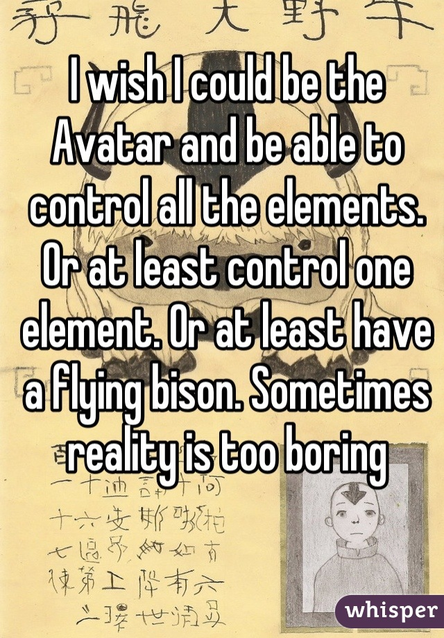 I wish I could be the Avatar and be able to control all the elements. Or at least control one element. Or at least have a flying bison. Sometimes reality is too boring