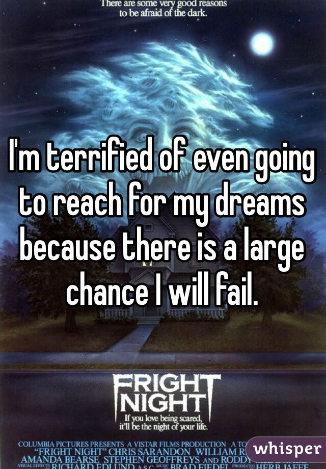 I'm terrified of even going to reach for my dreams because there is a large chance I will fail.