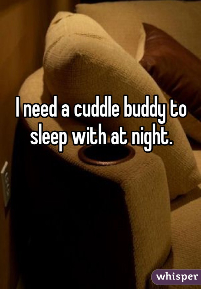 I need a cuddle buddy to sleep with at night.