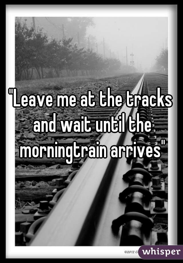 """""""Leave me at the tracks and wait until the morningtrain arrives"""""""