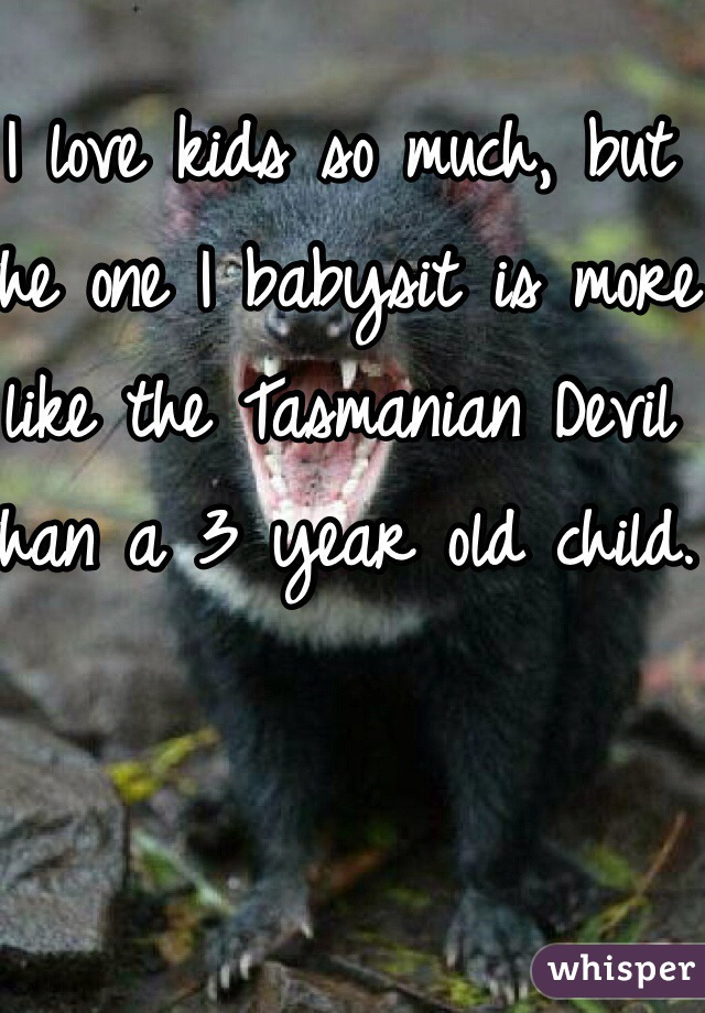 I love kids so much, but the one I babysit is more like the Tasmanian Devil than a 3 year old child.