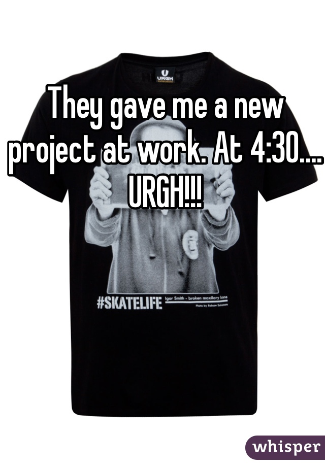They gave me a new project at work. At 4:30.... URGH!!!