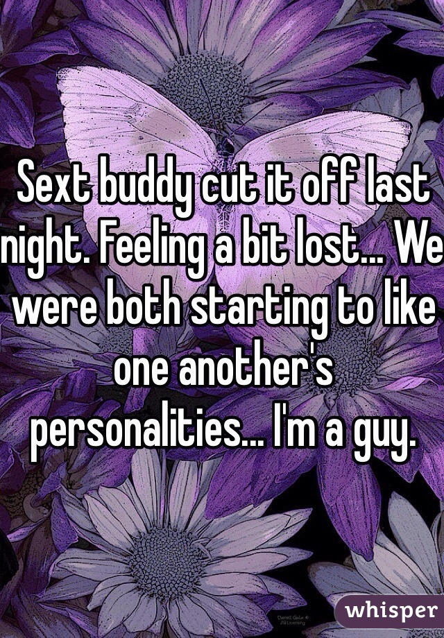 Sext buddy cut it off last night. Feeling a bit lost... We were both starting to like one another's personalities... I'm a guy.