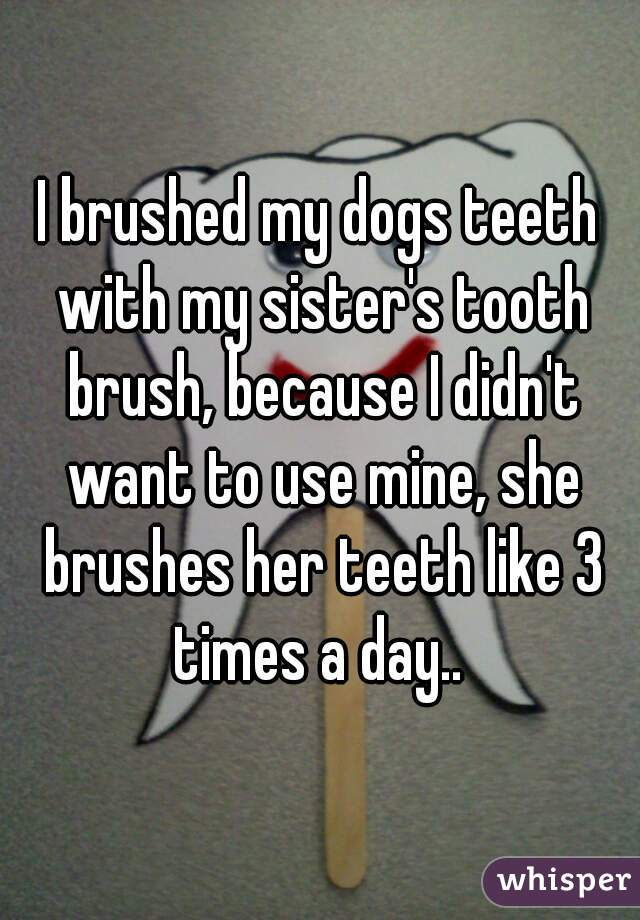I brushed my dogs teeth with my sister's tooth brush, because I didn't want to use mine, she brushes her teeth like 3 times a day..