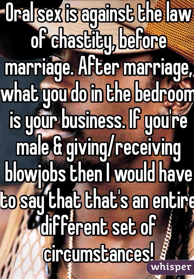 Does oral sex count as sex before marriage